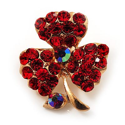 Tiny Red Crystal Clover Pin Brooch (Gold Tone)