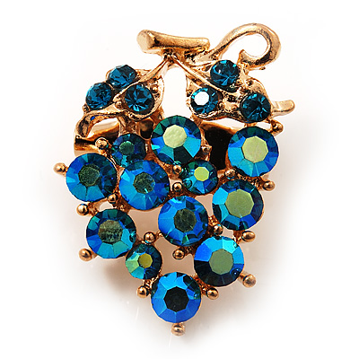 Tiny Grape-Design Teal Green Crystal Pin Brooch (Gold Tone)