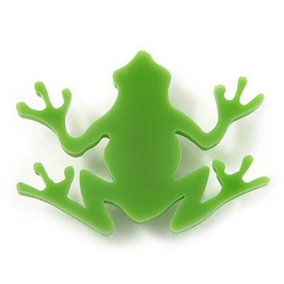 Lime Green Acrylic Frog Brooch
