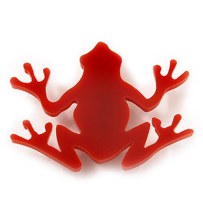Orange Acrylic Frog Brooch