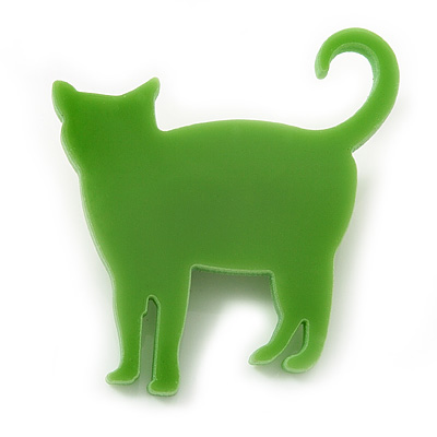 Lime Green Acrylic Cat Brooch