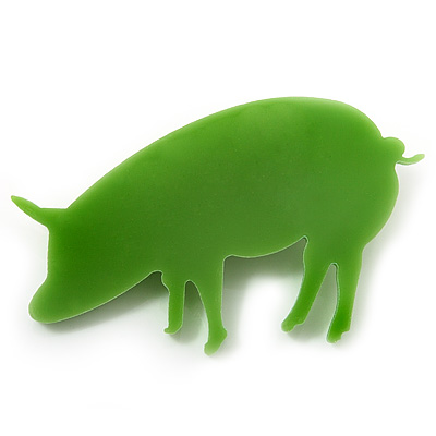 Lime Green Acrylic Piggy Brooch