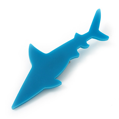 Teal Acrylic Shark Brooch