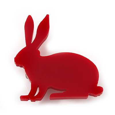 Red Acrylic Bunny Brooch