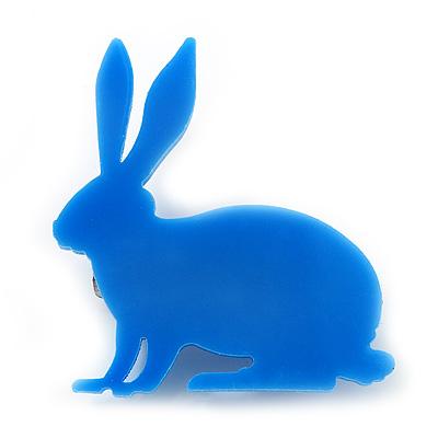 Blue Acrylic Bunny Brooch
