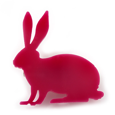 Magenta Acrylic Bunny Brooch