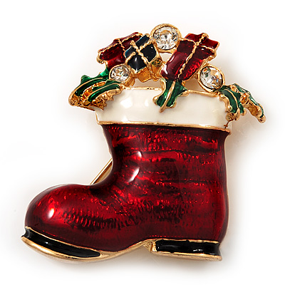 Christmas Stocking Brooch In Gold Plated Metal - 40mm L