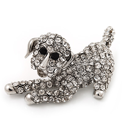 'Happy Puppy' Clear Crystal Brooch (Rhodium Plated Metal)