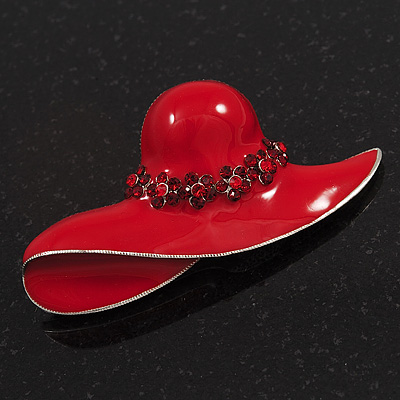 Red Enamel Crystal 'Hat' Brooch In Rhodium Plated Metal