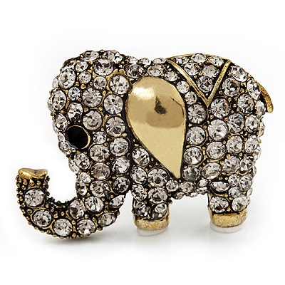 Antique Gold Metal Clear Crystal 'Fortunate Elephant' Brooch