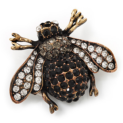 Vintage Diamante Bee Brooch (Burn Gold Metal)