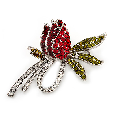Rhodium Plated Crystal Rose Brooch (Red, Burgundy, Green &amp; Clear)