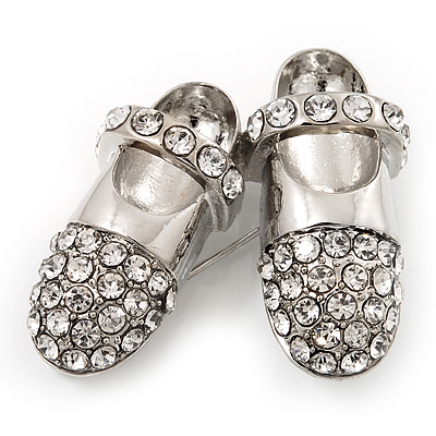 Rhodium Plated Crystal Shoes Brooch