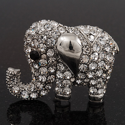 Rhodium Plated Clear Crystal 'Fortunate Elephant' Brooch