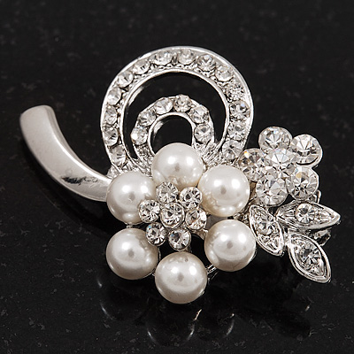 Fancy Pearl Diamante Flower Brooch (Silver Plated Metal)