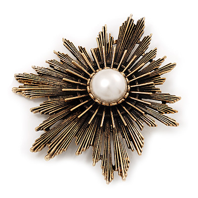 Large Vintage Bronze 'Star' Simulated Pearl Brooch