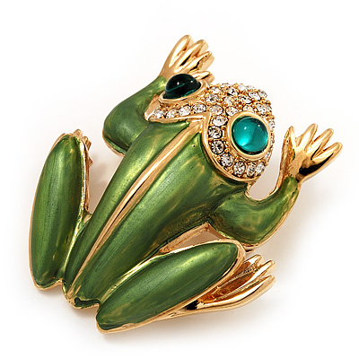 Large Bright Green Enamel Swarovski Crystal 'Frog' Brooch In Gold Plated Metal - 4.5cm Length