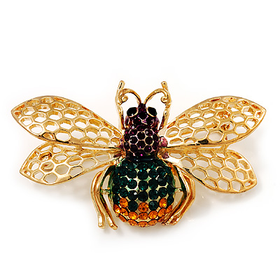 Multicoloured Swarovski Crystal Bee Brooch In Gold Plated Metal
