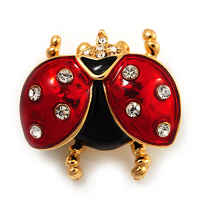 Red/Black Enamel Crystal Lady Bug Brooch In Gold Plated Metal - 2.3cm Length - main view