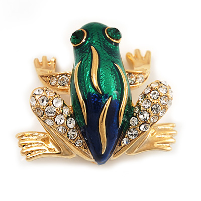 Funky Green/Blue Enamel Swarovski Crystal &#039;Frog&#039; Brooch In Gold Plated Metal - 2.5cm Length