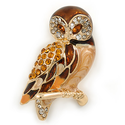 Brown Crystal Owl Brooch In Gold Plated Metal