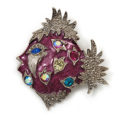 Purple Enamel Exotic Crystal 'Fish' Brooch In Silver Plated Metal