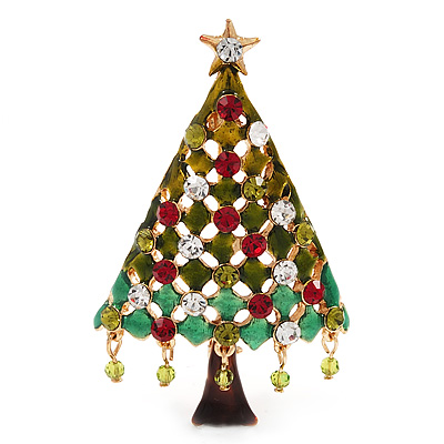 Green Enamel CZ Crystal Christmas Tree Brooch In Gold Plating - 6.5cm Length