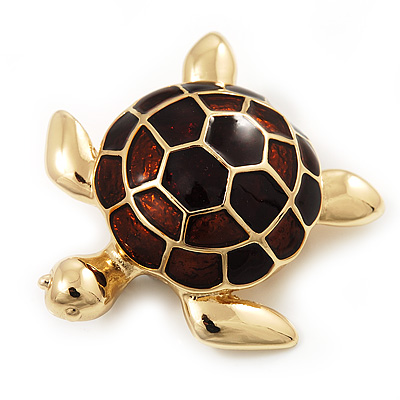 Gold Plated Brown Enamel 'Turtle' Brooch - main view