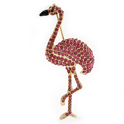Pink Swarovski Crystal 'Flamingo' Brooch In Gold Plated Metal - main view