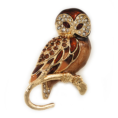 Brown Crystal 'Owl On The Branch' Brooch In Gold Plated Metal