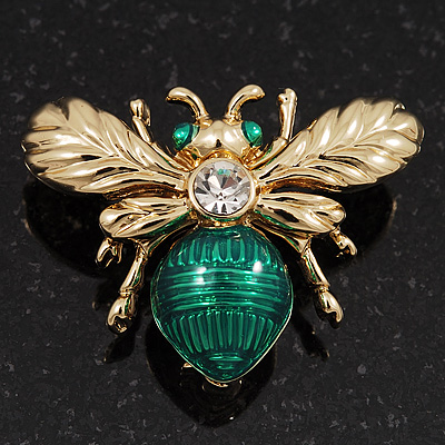 Small Funky Bee Brooch In Gold Plated Metal - 2.5cm Length