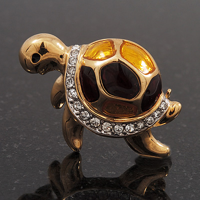 Small Crystal Enamel &#039;Turtle&#039; Brooch In Gold Plated Metal