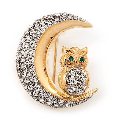 Clear Swarovski Crystal 'Owl On The Moon' Brooch In Gold Plated Metal - main view