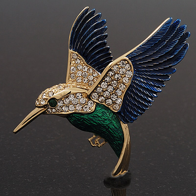 Multicoloured Crystal &#039;Hummingbird&#039;  Brooch In Gold Plated Metal