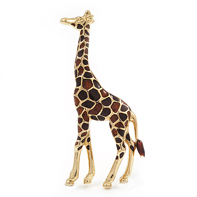 Brown Enamel 'Giraffe' Brooch In Gold Plated Metal - 45mm L
