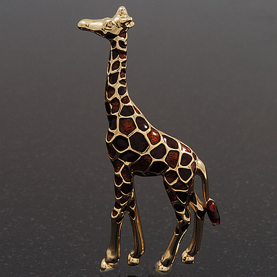 Brown Enamel 'Giraffe' Brooch In Gold Plated Metal