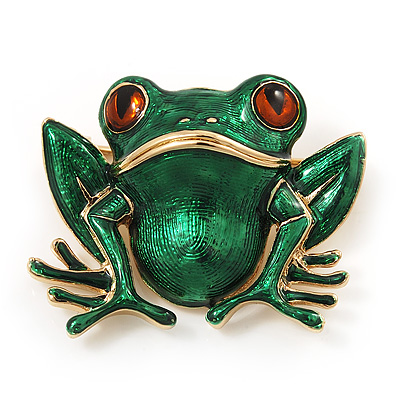 Green Enamel 'Toad' Brooch In Gold Plated Metal