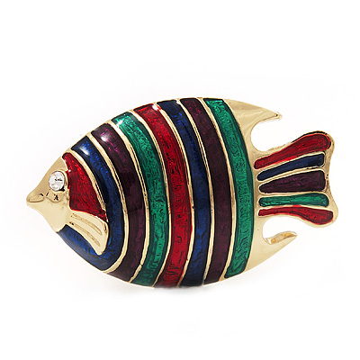 Multicoloured Enamel &#039;Fish&#039; Brooch In Gold Plated Metal