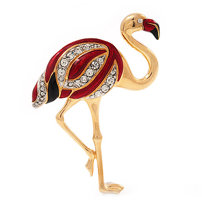 Crystal Enamel 'Flamingo' In Gold Plated Metal - main view