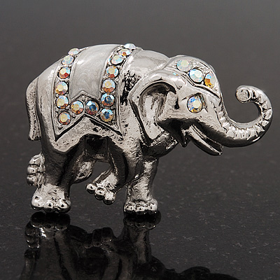 Silver Plated 'Fortunate Elephant' Brooch - main view