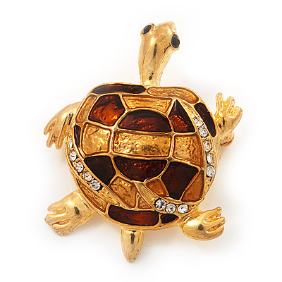 Light Gold Plated Enamel &#039;Turtle&#039; Brooch - main view