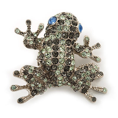 Swarovski Crystal 'Frog' Brooch In Rhodium Plated Metal (Light Green/ Grey) - main view