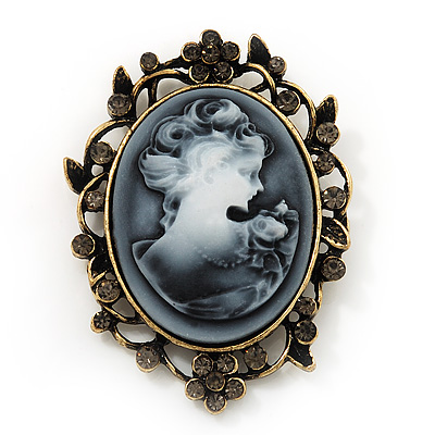 Ash Grey Crystal Cameo &#039;Regal Lady&#039; Brooch In Antique Gold Plating