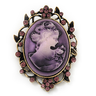Violet Crystal Cameo 'Regal Lady' Brooch In Antique Gold Plating