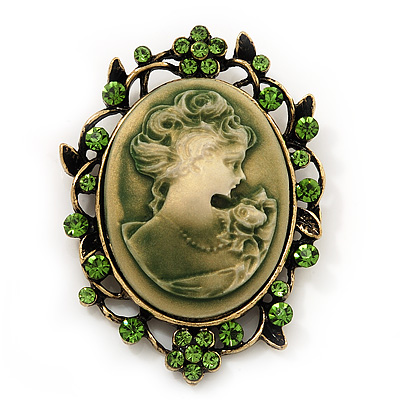 Grass Green Crystal Cameo 'Regal Lady' Brooch In Antique Gold Plating