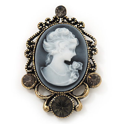 Dim Grey Crystal Cameo &#039;Regal Lady&#039; Brooch In Antique Gold Plating