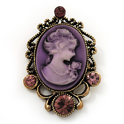 Purple Crystal Cameo 'Regal Lady' Brooch In Antique Gold Plating