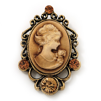 Citrine Crystal Cameo &#039;Regal Lady&#039; Brooch In Antique Gold Plating
