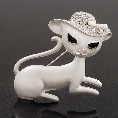 &#039;Lady Cat In The Crystal Hat&#039; Brooch In Silver Tone Metal - 5cm Length