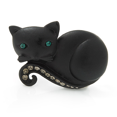 Cute Black 'Little Kitty' Diamante Brooch - 4cm Length